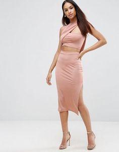 Asos Slinky Two Piece Wrap Midi Bodycon Dress Pink Bodycon Dresses, Satin Dresses, Short Dresses, Pink Dress, Prom Dresses, Latest Fashion Clothes, Fashion Outfits, Trendy Outfits, Fashion Online