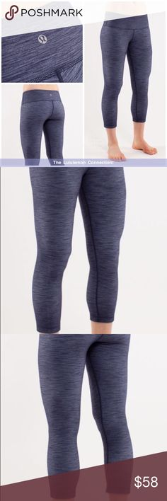 Lululemon Wunder Under Crop*Denim Comes from a Very Clean, Smoke Free home *Excellent condition * No rips, pulls, tears, pilling, etc Sorry, no trades! I record all of my shipments ! Message me with any questions! Bundle 2 Items for 10% off Happy Poshing 😊☺️  hidden waistband pocket  chafe-resistant flat seams let you focus on your practice the wide, soft waistband supports and covers  Luon fabric *does have the distressed jeans look* they are suppose to look like this lululemon athletica…