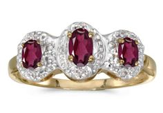 14K Yellow Gold Oval Rhodolite Garnet And Diamond Three Stone Ring
