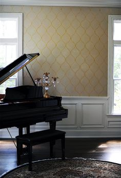 We love this music room featuring Wallovers Ethnic Grid stencil on the walls.  Faux Time Design painted the stencil, and then added some extra bling with almost 600 Swarovski crystals... wow!