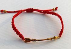 Macrame bracelet, Gold Arrow Cuff Bracelet, Handmade, Greek Jewelry, Bracelet Anniversary Gift, Greek Jewelry, Made in Greece #bracelet #macrame #red #heart #gold #jewelry #anniversary #handmade