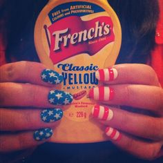 French's Mustard and Patriotic Nails! Getting into the spirit of July By Emma Zentner Usa Nails, 4th Of July Nails, July 4th, Patriotic Nails, America Nails, Nailart, Plain Nails, Diy Nail Designs, Fingernail Designs