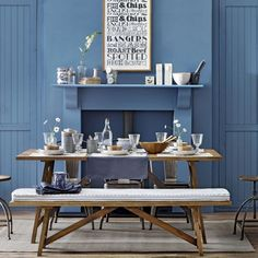 Blue gastro-style dining room | I think this table and bench set is the stuff of hubby's dreams XD