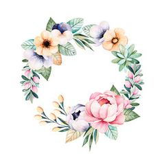 Ilustracja: Colorful floral pastel wreath with roses,flowers,leaves,succulent plant,branches,eucalyptus leaves,pansy flower,feather and more.Perfect for wedding,frame,quotes,pattern,greeting card,print,blogs etc