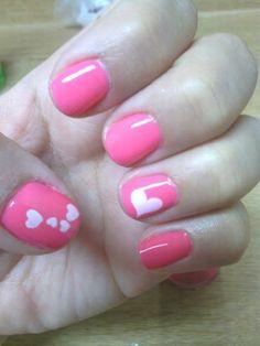 Short, Natural Nails, Pink with white heart accent nails, free-hand nail-art, Valentines Day, Holiday Spring Nail Art, Spring Nails, Pretty Nail Art, You Nailed It, Acrylic Nails, Nail Colors, Nail Art Designs, Acrylic Nail Art, Acrylics