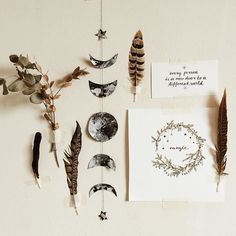 """dara-muscat: """"Autumnal mood board. I also did a DIY how to make this Moon phases garland (super easy) and it will be on blog.alohagaia.com in next week. And for now: how is your day going? Love..."""