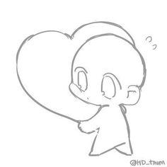 Learn To Draw Manga - Drawing On Demand Chibi anime holding a heart: drawing reference Kawaii Drawings, Art Drawings Sketches, Easy Drawings, Sketch Art, Drawing Base, Manga Drawing, Chibi Drawing, Drawing Step, Manga Art