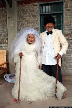 A husband and wife from China who are each more than 100 years old have been married for 88 years have finally gotten around to taking the wedding photos they couldn't take when they were first married