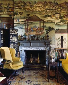 Chinoiserie with yellow wing chair.