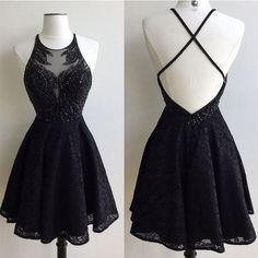 short Prom Dresses ,prom gown,Black round neck lace beaded short prom dress, cute homecoming dress by DestinyDress, $155.68 USD