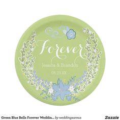 Green Blue Bells Forever Wedding Paper Plates