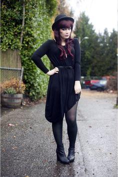 Black-caden-booties-blowfish-boots-black-romwe-dress-black-bowler-h-m-hat