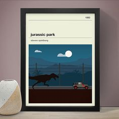 Jurassic Park Movie Poster - Movie Poster, Movie Print, Film Poster, Film Poster.  Sizes available: A3 (11.7 x 16.5 in) A2 (16.5 x 23.4 in) A1 (23.4 x 33.1 in)  A3/A2/A1 printed on 250gsm silk paper.  Digital Print.  Print is ready for framing. (Frame not included)  Prints are packaged in durable tubing when shipping.