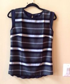 NWT FRENCH CONNECTION MULTI STRIPED POLY/LYOCELL CAP SLEEVE BLOUSE SIZE S-$58 #FcukFrenchConnection #Blouse