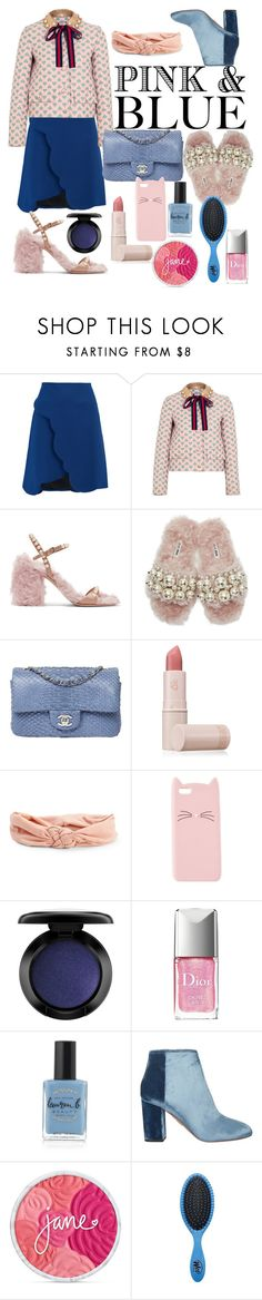 """pink and blue"" by justeeeiiinnne ❤ liked on Polyvore featuring Carven, Gucci, Miu Miu, Chanel, Lipstick Queen, Aéropostale, Charlotte Russe, John Lewis, Christian Dior and Lauren B. Beauty"