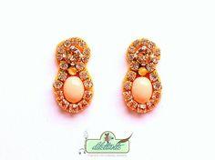 Crystal Earrings Swarovski- Rhinestone - Bridal Statement Earrings- Nude- Soft silk