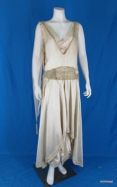 1920s silk charmeuse & tulle flapper wedding gown with sequins and beads