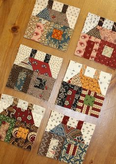 Temecula Quilt Co: February 2012 Scrappy houses 3 x 3 blocks, link to pattern on Etsy.   Designer from the Netherlands.