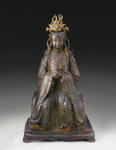 明十六 / 十七世紀 銅漆金碧霞元君坐像
