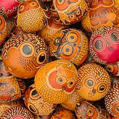 Owls Mix of 20 - Petite Gourd Ornaments by Lucuma Designs