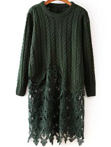 Contrast Lace Hollow Cable Knit Dark Green Sweater