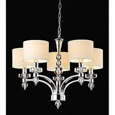@Overstock.com - 5-light Chrome Chandelier - Light your home in elegant style with this brilliant 5 light chrome chandelier. This stunning light fixture features a striking chrome finish, complete with beige fabric shades and a 40 inch chain for additional height and versatility.   http://www.overstock.com/Home-Garden/5-light-Chrome-Chandelier/5133490/product.html?CID=214117 $206.99