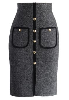 Studded Pockets Knitted Pencil Skirt in Grey - Skirt - Bottoms - Retro, Indie and Unique Fashion