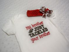 Baby Girl Football Onesie and Headband Bow by grinsandgigglesbaby1, $21.50