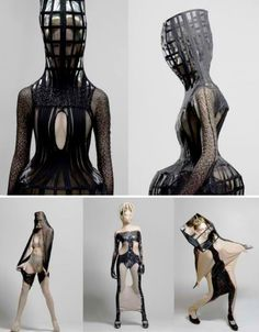The 'Hypnosis' collection by young designer Ara Jo looks like something out of a strange dream, especially the garments that stretch over the wearer's heads and necks. Some look like medieval torture devices. Unsurprisingly, these looks caught the eye of fashion stylist Nicola Formichetti, who chose one for Lady Gaga.