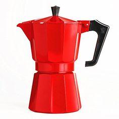 Red 6-Cup Stovetop Moka Pot Espresso Maker , 22 oz. c oz each