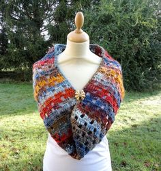 718805bb796 Hand crocheted multicolor knitted SNOOD   scarf   neck warmer   man or  woman   motif Openwork