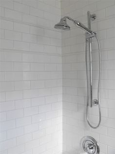 "I like this silver grout with white subway tiles grout is ""silver shadow"" from lowes - love the slight contrast without being too bold. Subway Tile Showers, White Bathroom Tiles, Grout Color, White Subway Tile, Bathroom Makeover, White Subway Tile Bathroom, White Subway Tile Shower, Bath Tiles, Bathroom"