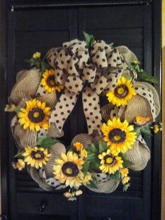 Gorgeous Trendy Spring Summer Natural Burlap-*****Sunflowers one of my favorites! Burlap Crafts, Wreath Crafts, Diy Wreath, Mesh Ribbon Wreaths, Burlap Wreaths, Door Wreaths, Fall Wreaths, Christmas Wreaths, Sunflower Wreaths