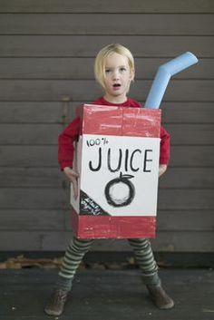 Make a Juice Box Costume from a Cardboard Box | #HalloweenCostumes