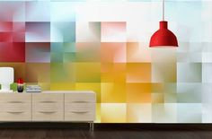 Papier Peint Design Camaieu par Izoa. Design Wallpaper Camaieu by Izoa. #colors #effect #squares