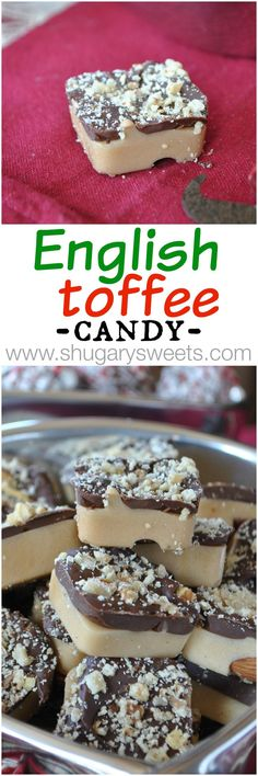 Homemade English Toffee candy: it's the perfect treat..with almonds and walnuts!!