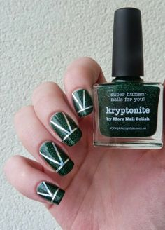#nails #green #nailpolish #glitter @Cristie Montgomery Black Engelage pOlish  http://www.emotion-wizard.com/2014/04/kryptonite-picture-polish.html