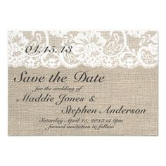 This custom wedding invitation is the perfect combination of traditional and trendy. The burlap-look background is perfect for a rustic or vintage themed wedding and the lace-look accent adds a classic, romantic touch. Coordinates with full collection of matching invitations, RSVP cards, custom postage, and more! Email me for custom colors! NOTE - This is a high-quality image of burlap, lace, & ribbon; this invitation does not contain actual burlap, lace, or ribbon. Thanks!