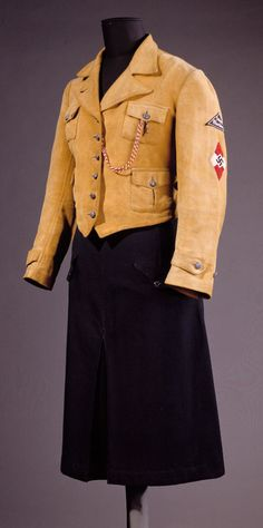 Love this Jungmädelbund jacket except the swastika. The mustard yellow color is fun in military garment. Ww2 Uniforms, German Uniforms, Camouflage, Germany Ww2, The Book Thief, The Third Reich, Mustard Yellow, Hugo Boss, World War