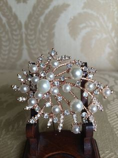 rose gold wedding brooch with pearls  for by TheCrystalFlower, $28.00