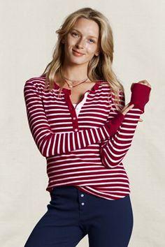 Women's Striped Henley Pajama Top