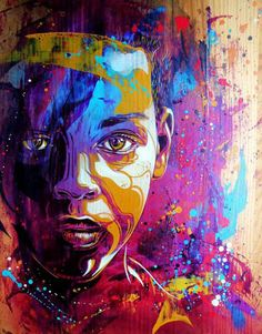 Artwork by C215: child, children, youth, teen, teenager, people, person, portrait, photo, graffiti, mural, street art