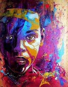 Artwork by C215: child, children, youth, teen, teenager, people, person, portrait, photo, graffiti, mural, street art