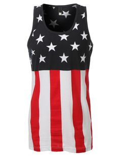 LE3NO Mens Hipster Stripes and Stars Patriotic Tank Top