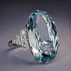Blue Wedding Rings, Wedding Rings Solitaire, Blue Rings, Gems Jewelry, Jewelry Accessories, Jewelry Design, Sky Blue Weddings, Antique Jewelry, Vintage Jewelry
