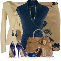 Like the draped collar wrap blouse in dark blue, and blue floral side print (not an overall print) on the skirt. Classic camel snakeskin bag. Pair with navy pumps, classic copper wrist cuff, and my camel cashmere blazer for the office. | Women fashion ide
