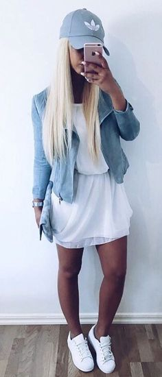 casual style obsession jacket + dress + sneakers
