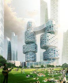 Velo Towers,© Asymptote Architecture