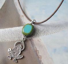 Sweet Lil Frog Sterling Silver Czech Aqua Bead by OceanaireDreamer, $23.00