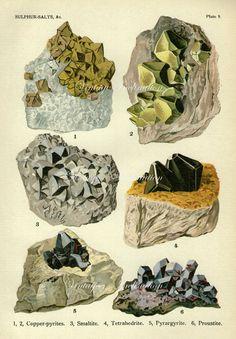 ORIGINAL 1911 Vintage Minerals Print 8I Antique Gems Precious Stones print, art print, lithograph minerals wall print wall art